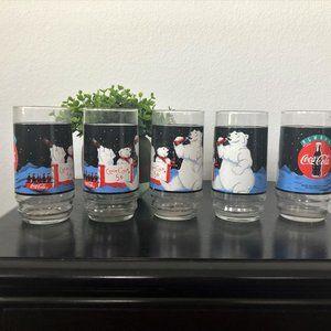 Coca Cola Polar Bear Cups Glasses Vintage Set of 5